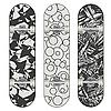 Vector clipart: Three Skateboard Designs