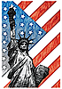 Liberty Statue on the U.S. flag