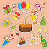 Birthday Set Stickers | Stock Vector Graphics