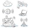 Vector clipart: Wireless Technologies Sketch Set 2