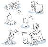 Векторный клипарт: Беспроводные технологии Sketch набор