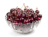 Sweet cherries in glass plate | Stock Foto