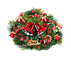 Photo 300 DPI: two red Christmas bells and green wreath