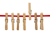 Clothespins on rope | Stock Foto