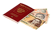 Money of Peru and Russian passport | Stock Foto