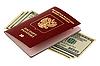 러시아어 여권 및 달러 | Stock Foto