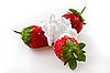 Ripe strawberry with cream | Stock Foto