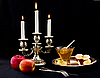 Candles, honey and apple | Stock Foto
