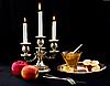 Świece, miód i jabłka | Stock Foto