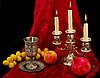 Cup, fruits and candles | Stock Foto