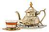 Ancient silver teapot and cup of tea | Stock Foto