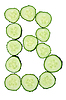 Vegetable Alphabet of chopped cucumber - letter B   Stock Foto