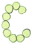 Vegetable Alphabet of chopped cucumber - letter C   Stock Foto