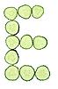 Vegetable Alphabet of chopped cucumber - letter E   Stock Foto