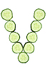 Vegetable Alphabet of chopped cucumber - letter V   Stock Foto