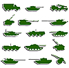 Vector clipart: Tanks, artillery and vehicles of second world war