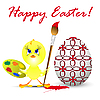 Vector clipart: easter holiday with chicken, on white back