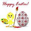 Vektor Cliparts: Ostern mit Huhn, auf weißem Rücken