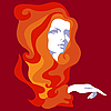 Векторный клипарт: Девушка с длинными волосами