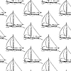 Vector clipart: seamless pattern with sailboat