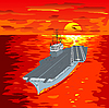 Vector clipart: Aircraft carrier on waves