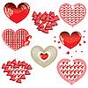 Vektor Cliparts: Set von roten Herzen