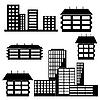 Vektor Cliparts: verschiedene Arten von Häusern und Gebäuden -