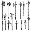 Vektor Cliparts: Waffensammlung, mittelalterliche Waffen