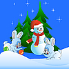 Vector clipart: Two white hares and Snowman
