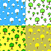 Vektor Cliparts: nahtloser Hintergrund mit Bäumen