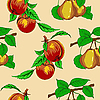 Vector clipart: Seamless pattern with peaches and pears.