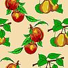 Vektor Cliparts: Nahtlose Tapete mit Pfirsichen und Birnen.