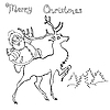 Vector clipart: santa claus rides on deer