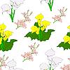 Vektor Cliparts: Nahtloser Hintergrund mit Blumen.