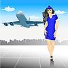 Vektor Cliparts: schöne Stewardess am Flughafen