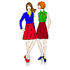Vektor Cliparts: fashion girls