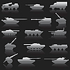 Vector clipart: set of tanks and cannons