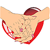 Vector clipart: female hands with red heart