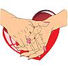 Vektor Cliparts: weibliche Hände mit rotem Herz