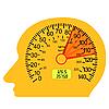 Vector clipart: car speedometer in the human brain