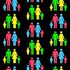 Vektor Cliparts: Nahtloser Hintergrund mit Silhouetten einer Familie