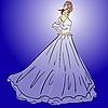 Векторный клипарт: Невеста в свадебном платье белого цвета с букетом