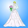 Невеста в свадебном платье белого цвета с букетом