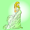 Vector clipart: beautiful pregnant woman in long dress