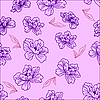 Vector clipart: Seamless pattern of flowers and leaves