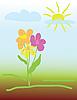 Векторный клипарт: детский рисунок цветка