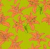 Векторный клипарт: Бесшовный фон с цветком лилии.