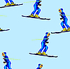 Vector clipart: Seamless pattern with skiers