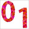 Векторный клипарт: Цветочный алфавит из красных роз, символы 0-1