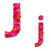 Векторный клипарт: Цветочный алфавит из красных роз, персонажи Jj